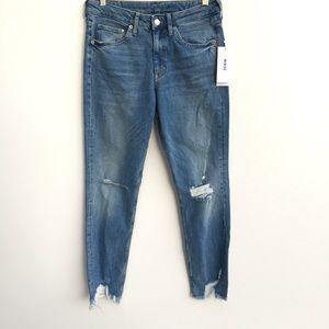 NWT HM Girlfriend Fit Raw Hem Skinny Jeans Blue 29
